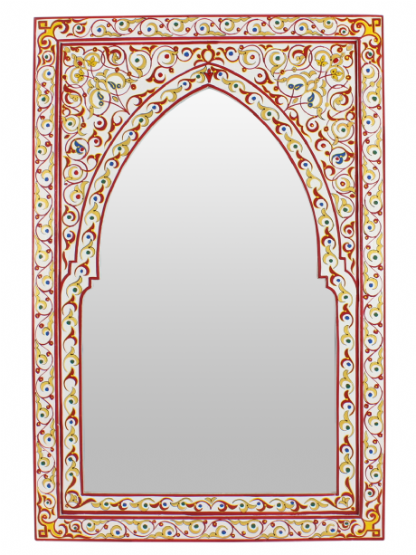 Moroccan Mirror Arched Zouak Wood White Gold Red Handmade Large 90cm x 60cm (ZM20)